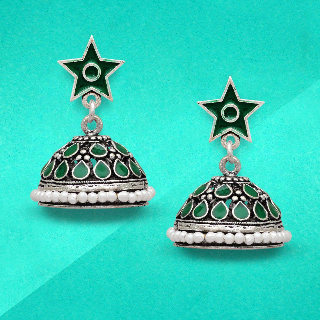 Jaipur Mart Green Color Beads Oxidised Jhumka Earrings
