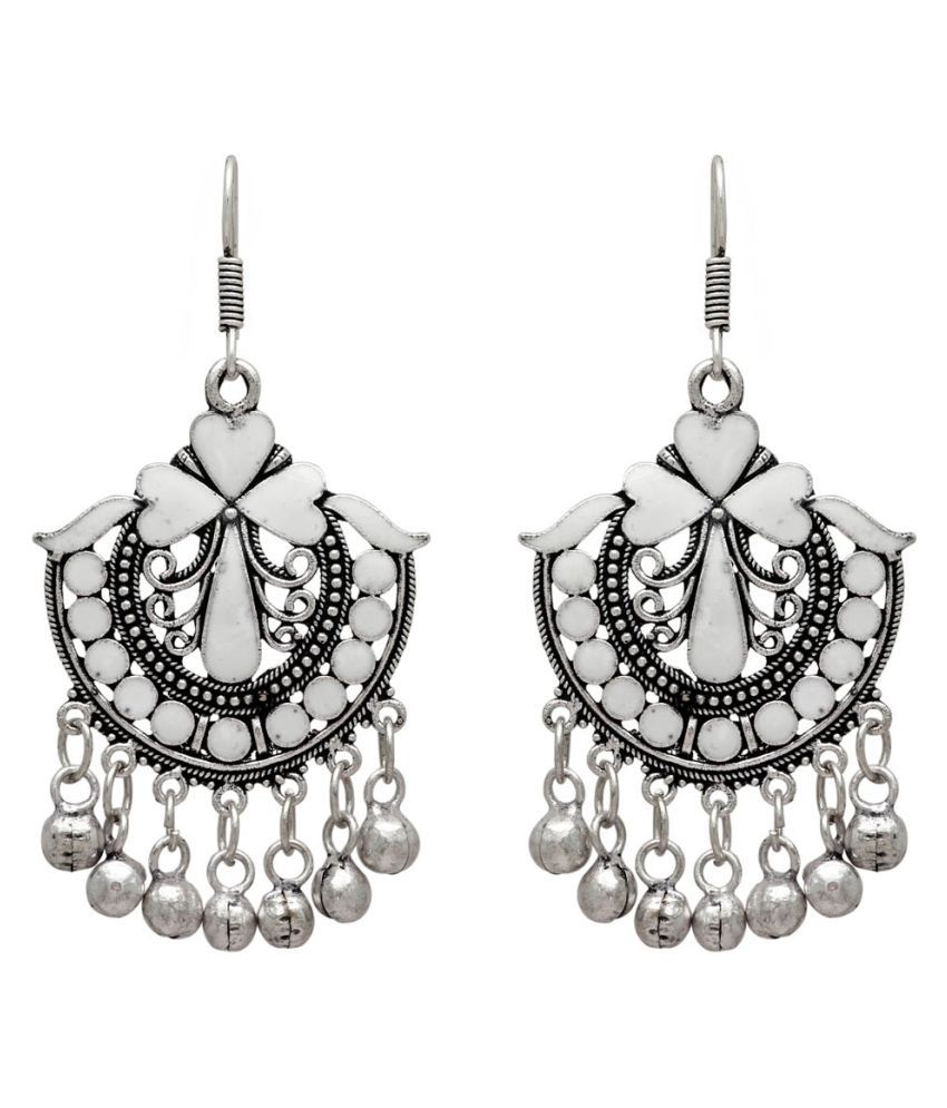 Jaipur Mart White Color Festive Special Afghani Earrings