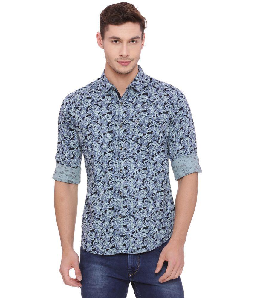 Urbantouch Blue Slim Fit Shirt Single