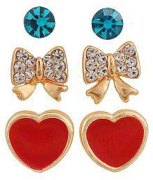 590be96e1 Quick View. Maayra Bow Heart Earrings Combo Multicolour Ear Studs Office  Casual Earrings
