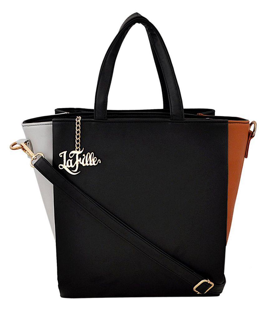 LAFILLE Tan Faux Leather Shoulder Bag