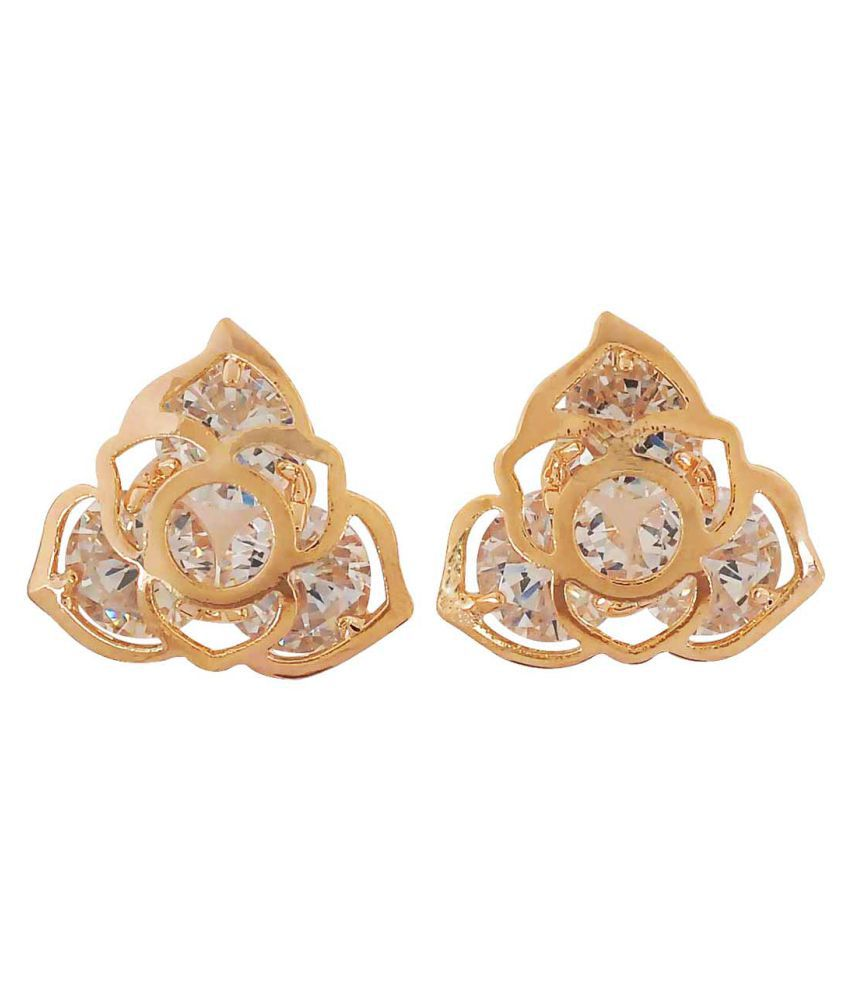 Maayra American Diamond Earrings Golden Ear Studs Office Casualwear Earrings