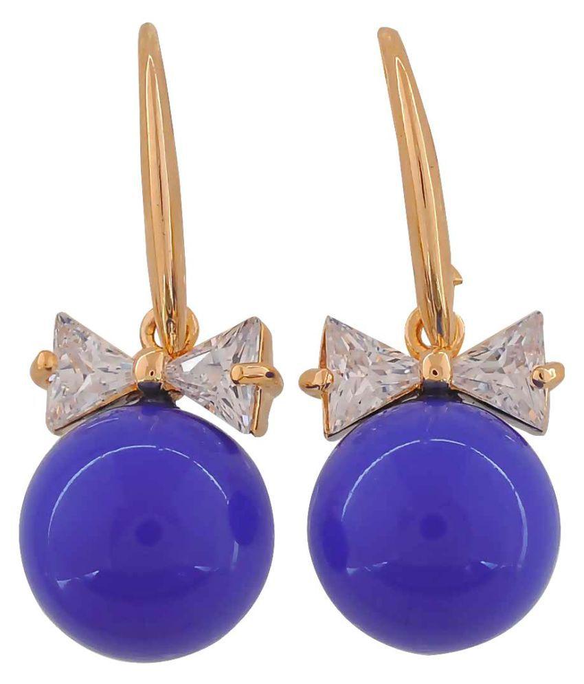 Maayra Bow Pearl Earrings Blue Dangler Drop College Fashion Earrings