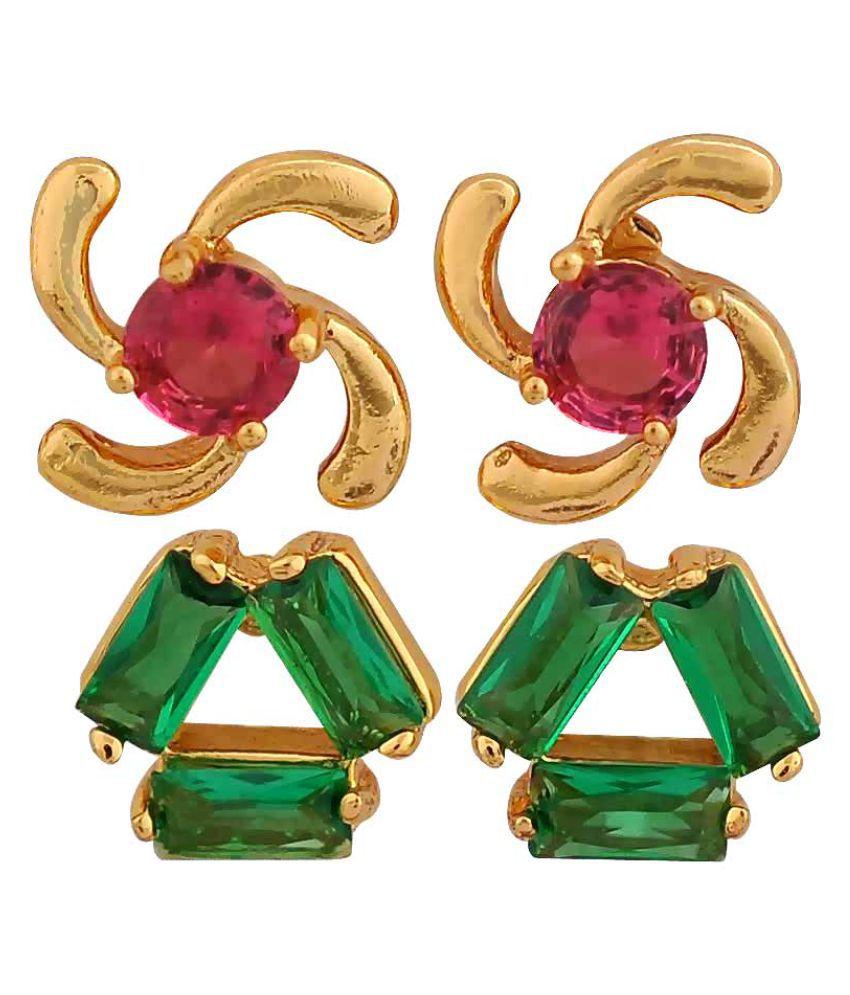 Maayra Designer Earrings Combo Green Pink Ear Studs Office Casualwear Earrings