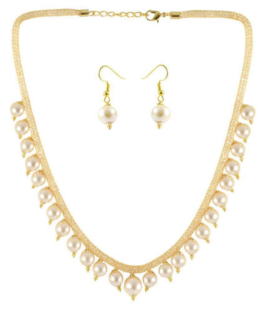 Rejewel Party Wear Stylish Pearl Necklace Jewellery Set