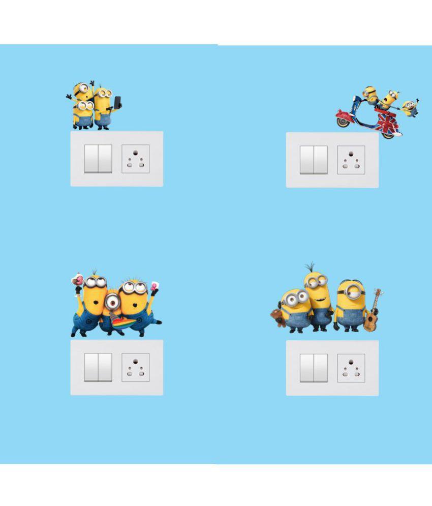 Sticker Studio Minions PVC Switch Board Sticker - Pack of 1