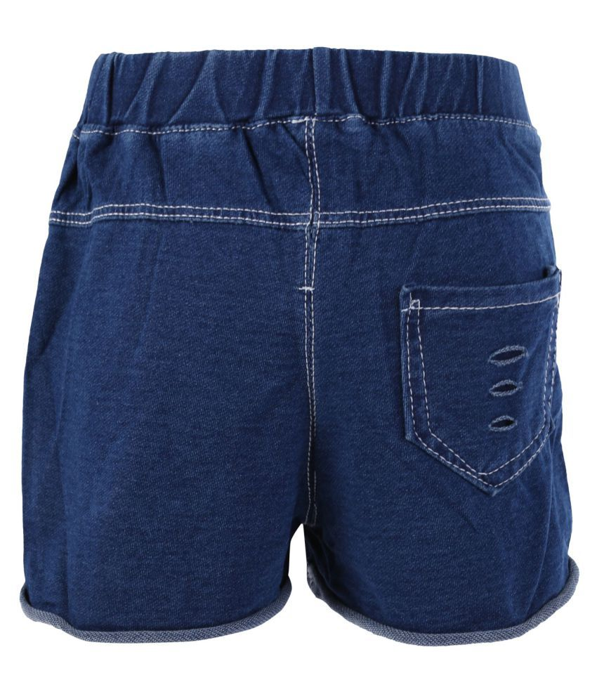 Blisara Girls Jeans Style Pattern Blue Short Pant (Size Suitable for 2 to 3 years)