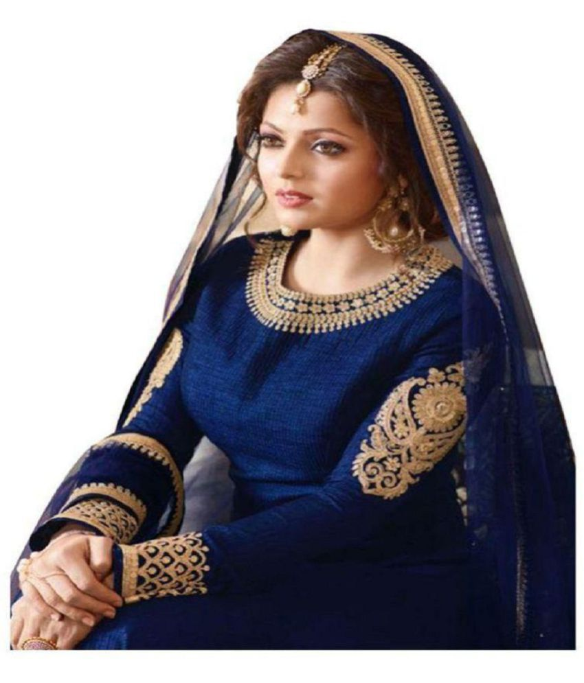 320ced8d8fb1 ... YOYO Fashion Blue and Beige Bangalore Silk Anarkali Gown Semi-Stitched  Suit ...