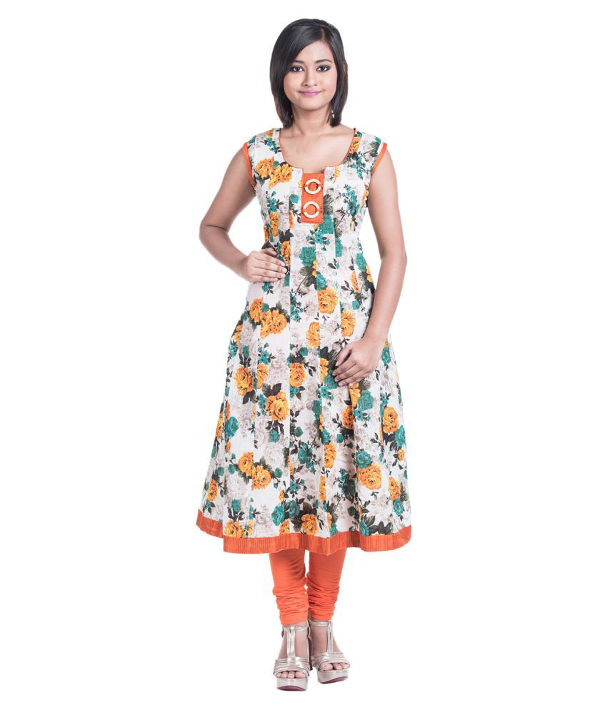 CYNTHIA'S FASHION Orange Cotton Anarkali Kurti
