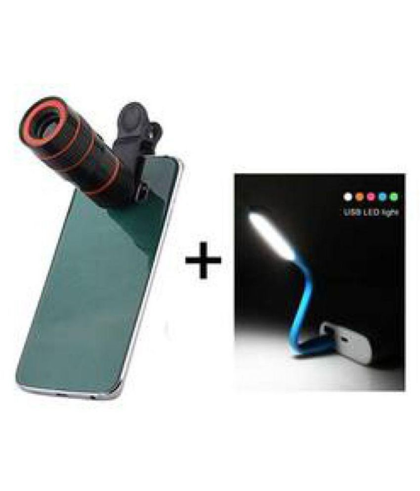 Combo Of Universal Clip On Telescope Lens 8x Optical Zoom For All Mobile Phone With Clamp Black Smart Phones And Flexible Usb Led Light Lamp