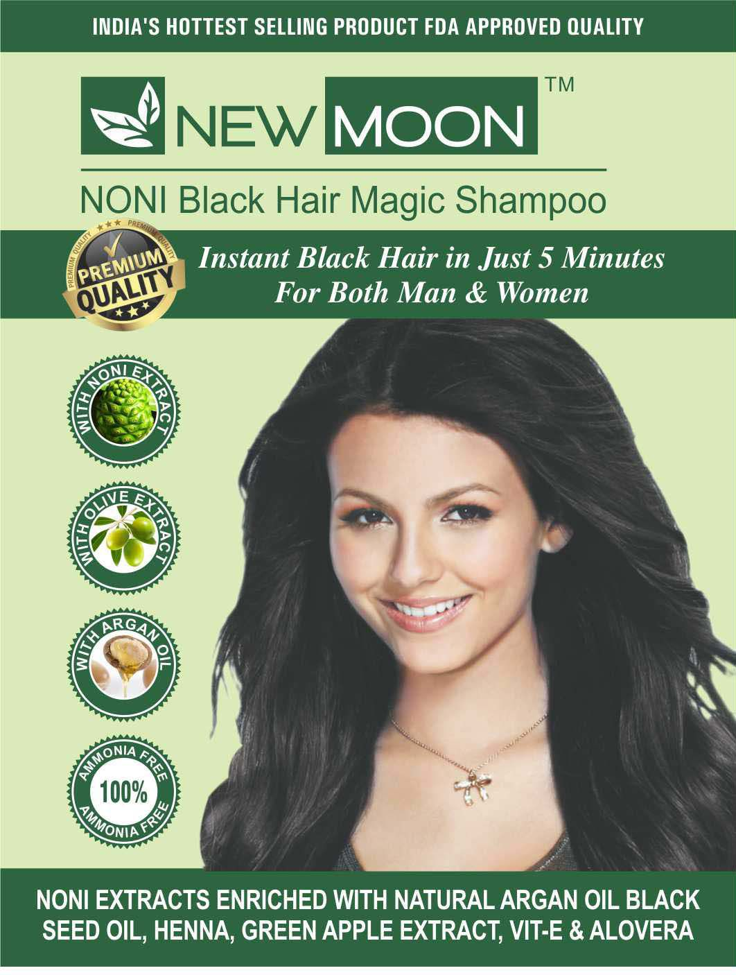 New Moon Noni hair colour aruvedic Permanent Hair Color Black 30 ml Pack of 40