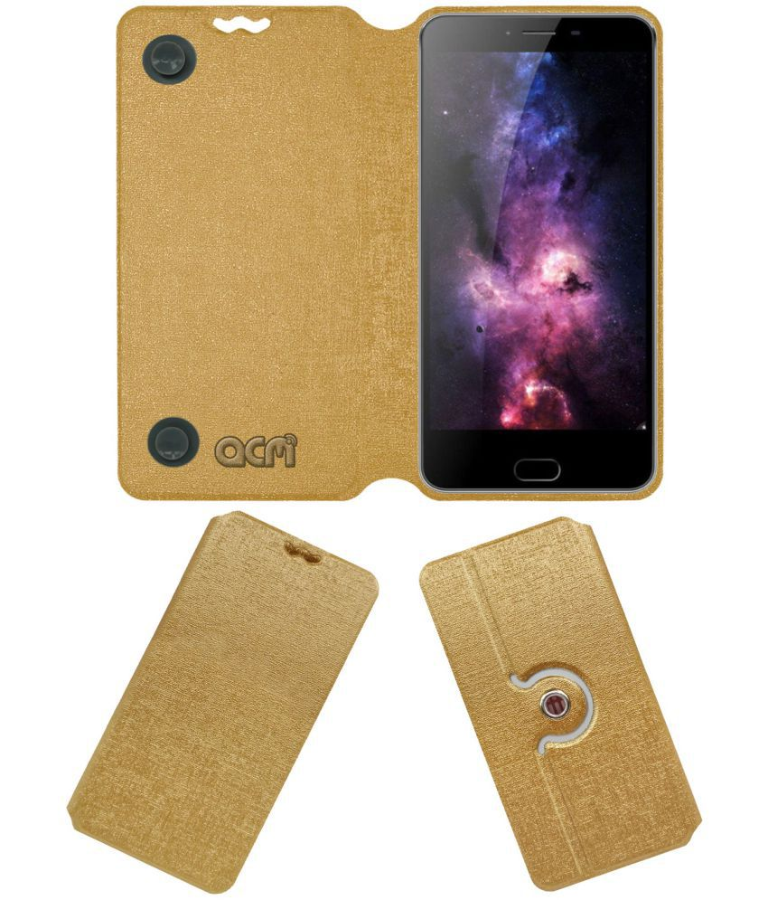 Kenxinda V8 Flip Cover by ACM - Golden Dual Side Stand