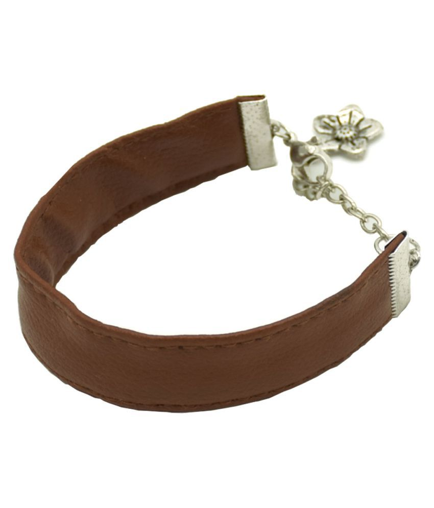Leather Flower Charm Men Bracelet-Brown