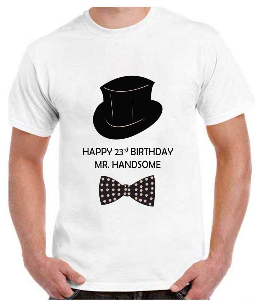 Ritzees Unisex Half Sleeve Dry Fit White Polyester T-Shirt on 23Rd Birthday- White,38