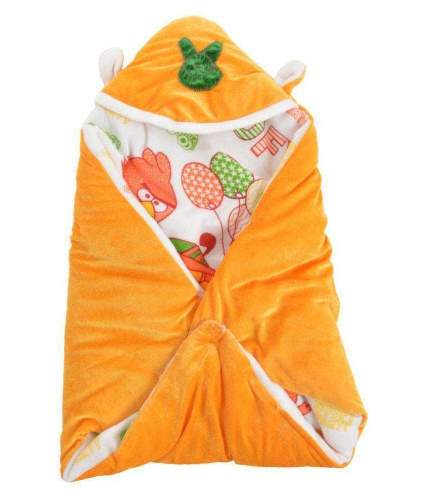 kidsvision Orange Cotton Baby Wrap cum blanket ( 76 cm × 41 cm - 1 pcs)