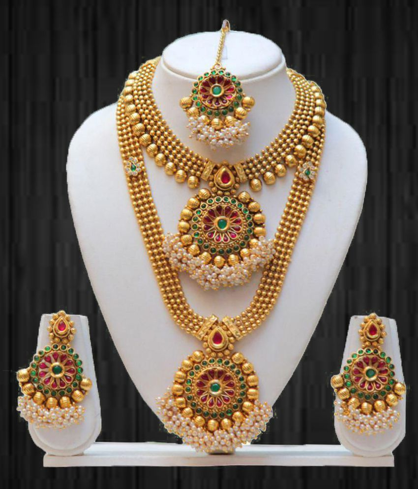 7e2844828 Swarajshop Golden Traditional Gold Plated Necklaces Set - Buy Swarajshop  Golden Traditional Gold Plated Necklaces Set Online at Best Prices in India  on ...