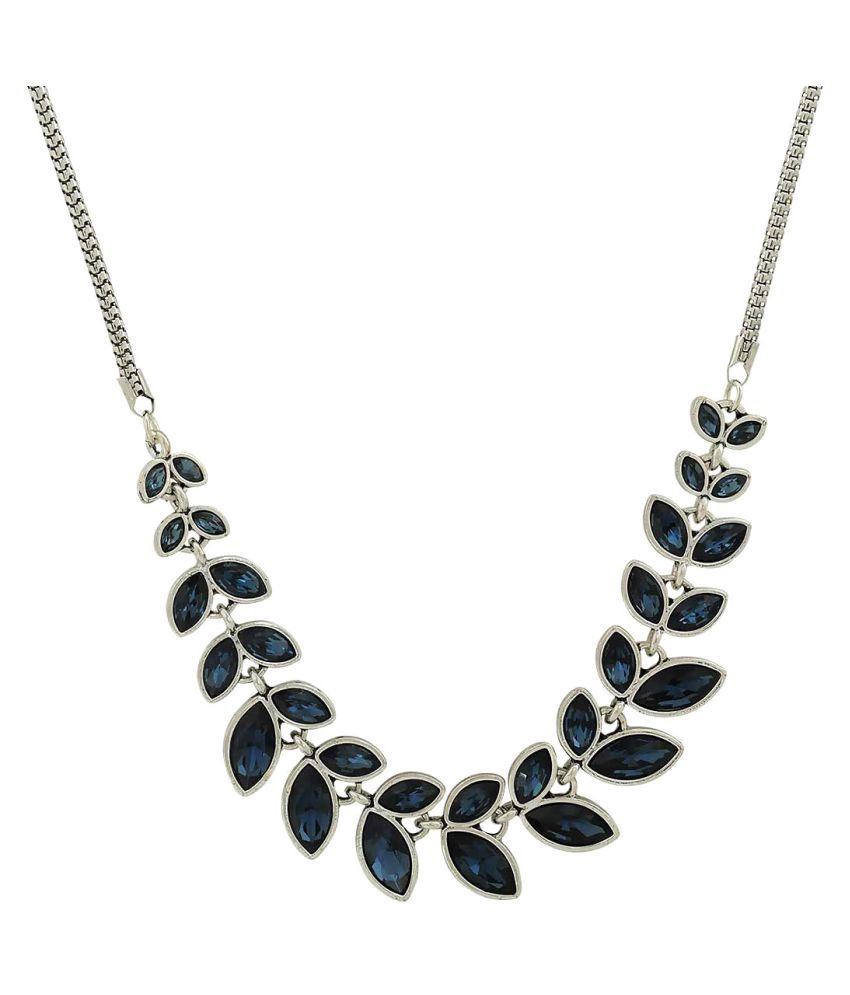 Maayra American Diamond Necklace Blue Leaves shape Party Necklace
