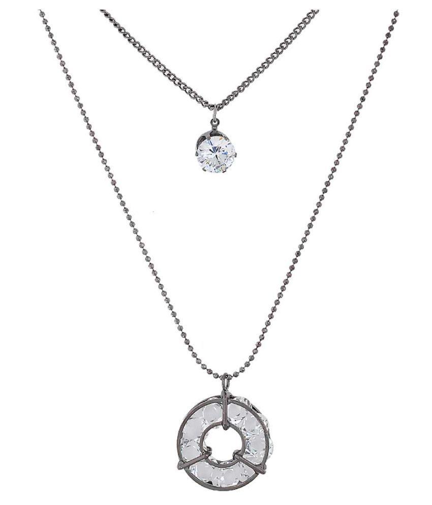 Maayra American Diamond Neckpiece Grey Studded Party Neckpiece