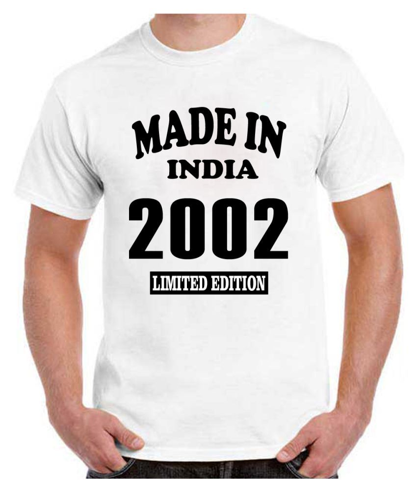 RITZEES White Dry Fit Polyester Birthday Tshirt on Made in India 2002 -S
