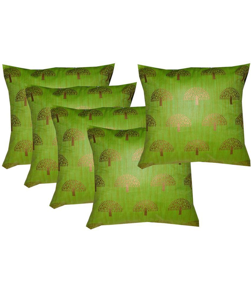 PINK PARROT Set of 5 Silk Cushion Covers 30X30 cm (12X12)