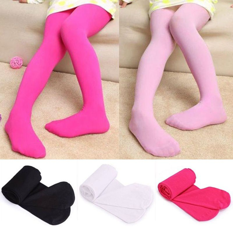 Girls Leggings Footed Tights Stockings Solid Color Pantyhose Ballet Dance Pants Stretch Stocking