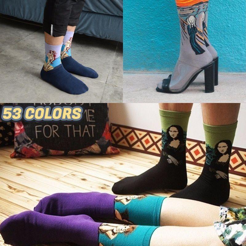 New Fashion Cotton Socks Unisex Men Women Socks Mona Lisa Fine Art Painting Stockings