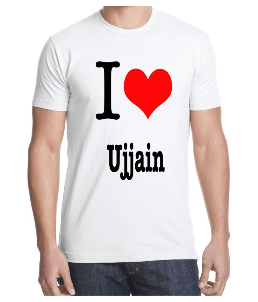 RITZEES White Dry Fit Polyester Tshirt on I Love Ujjain-S