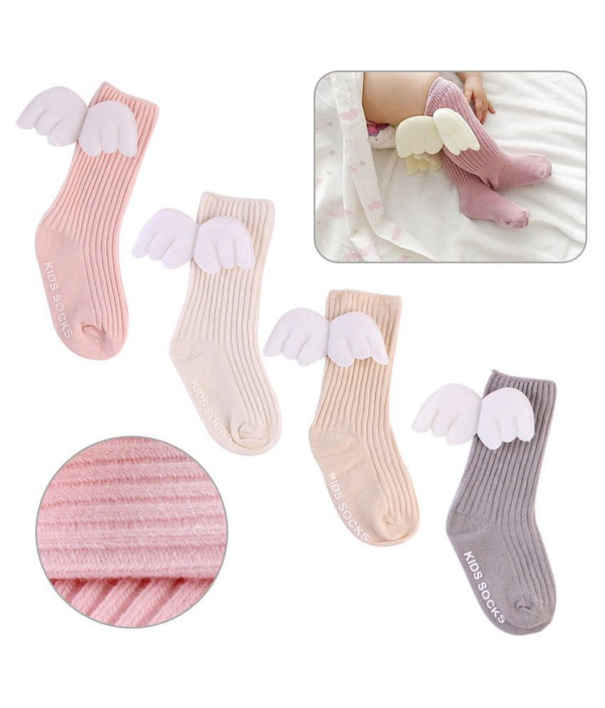 Baby Toddler Infant Kid Cotton Warm Angel's Wing Socks Stockings Knee Tight 0-4Y