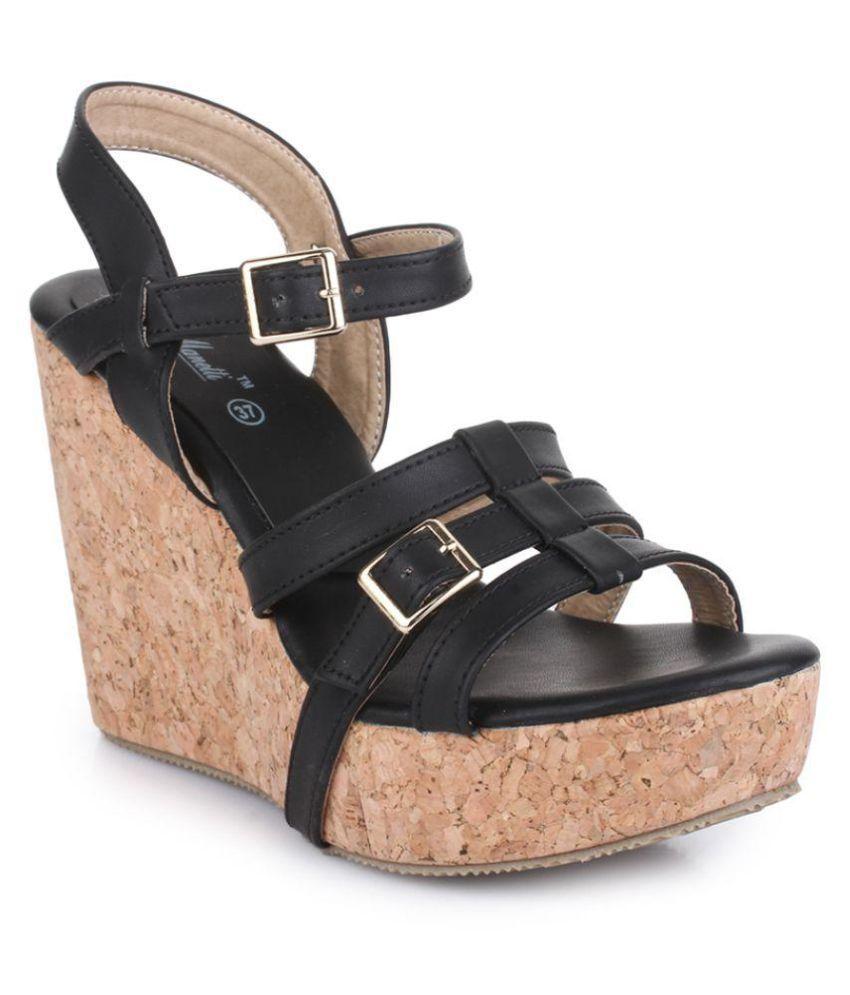 Bruno Manetti Black Wedges Heels