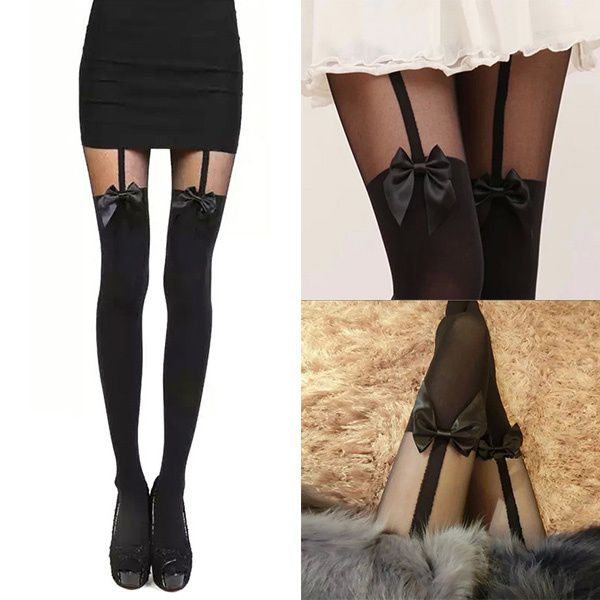 Sexy Stockings Pantyhose Bow Suspender Sheer Tights Lace Pantyhose Stay Up Thigh High Stockings