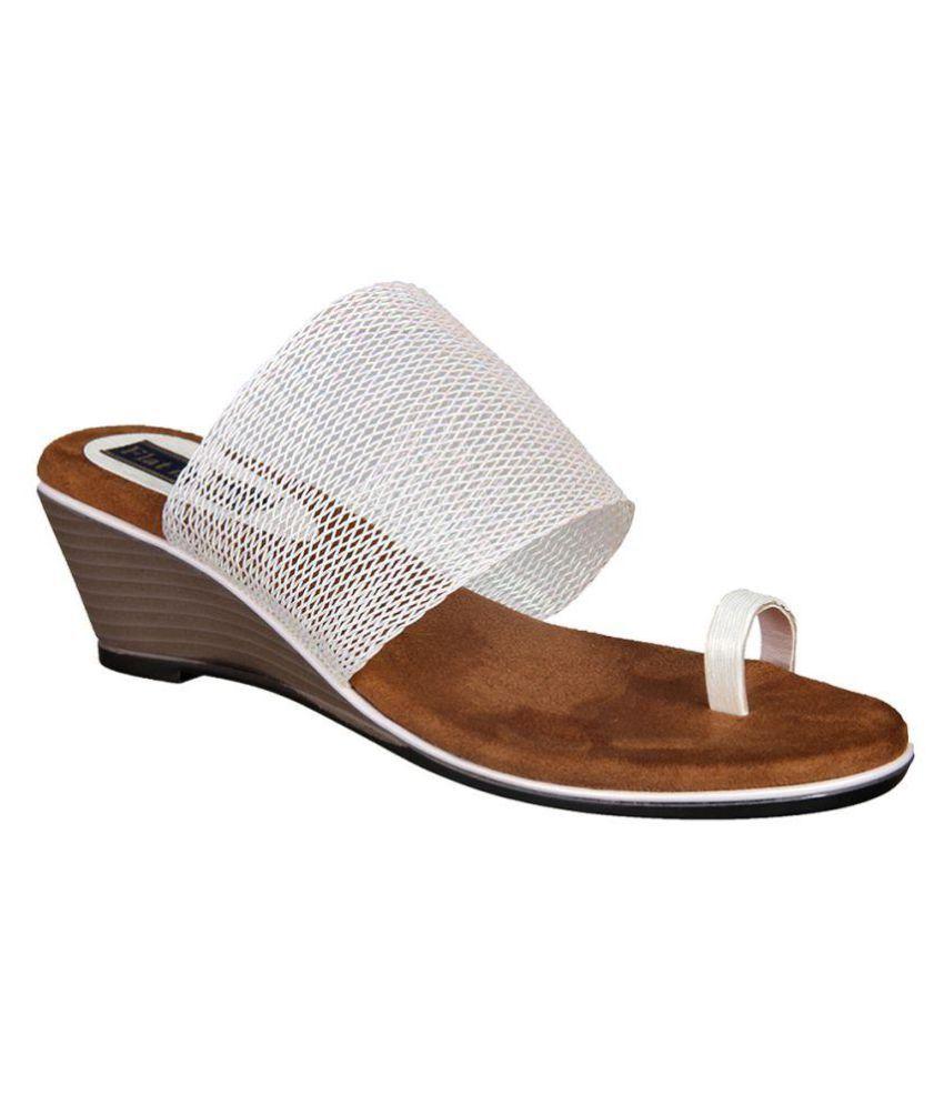 Flat n Heels White Wedges Heels