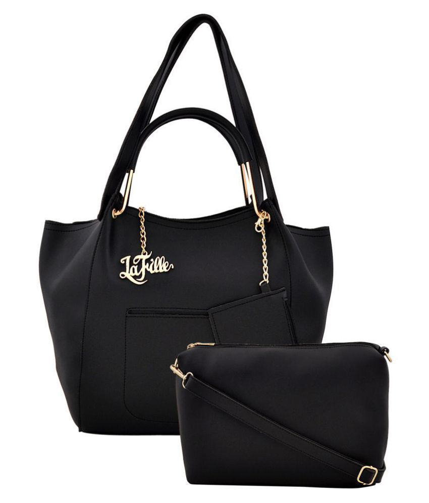 LaFille Black Faux Leather Handheld