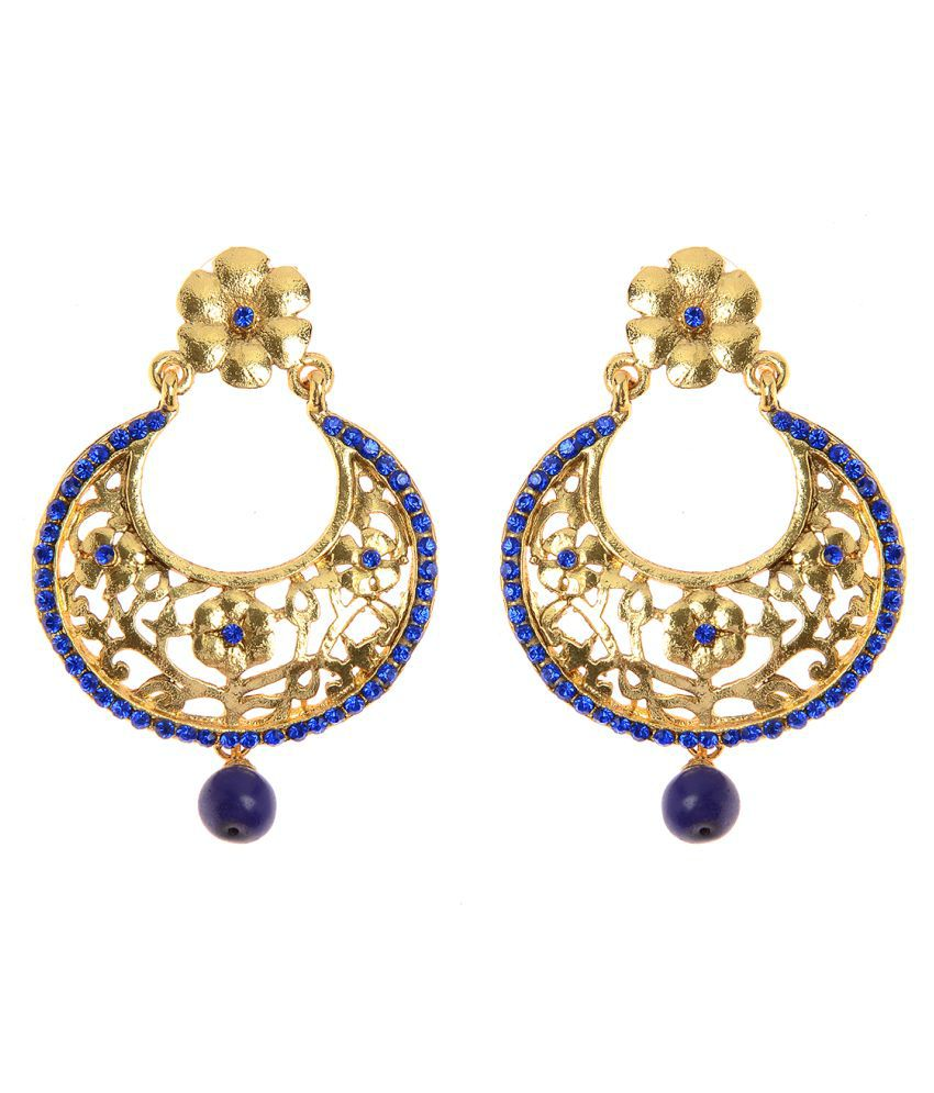 Vendee Fashion Blue And Gold Filigiree Work Earring