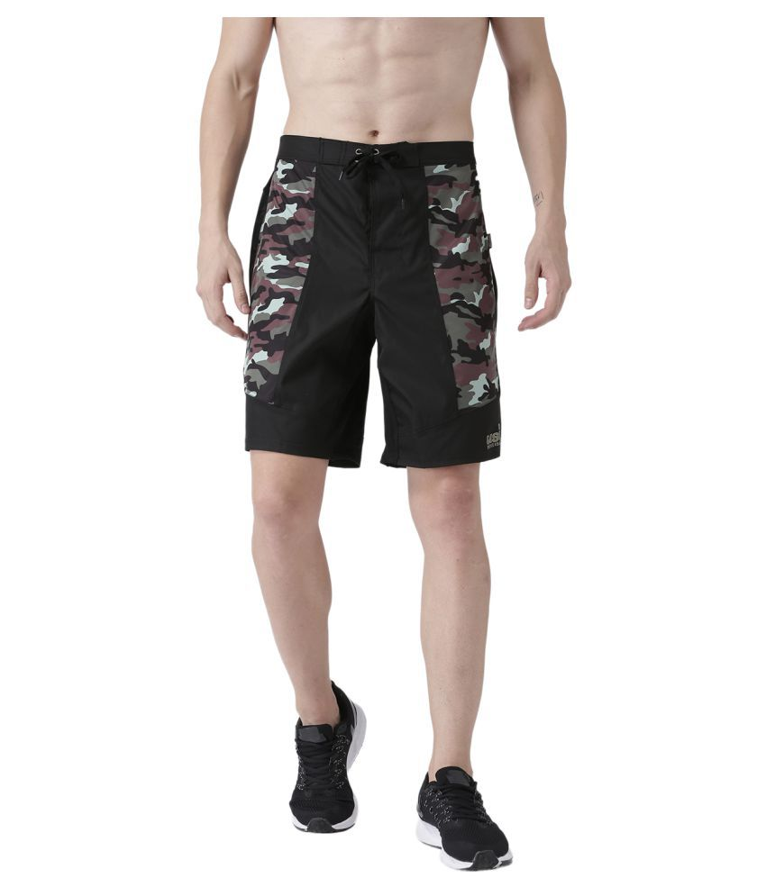 USI UNIVERSAL Black And Green Camo Coloured Mens Shorts