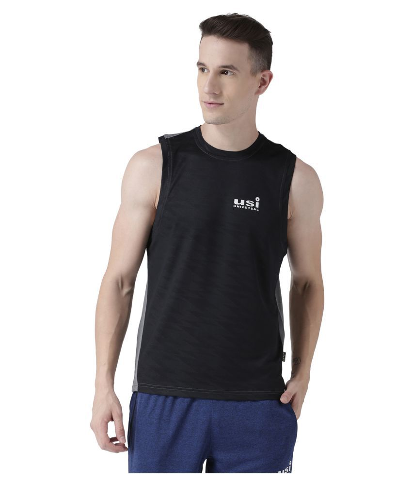 USI UNIVERSAL Black And Grey Coloured Mens T-Shirt