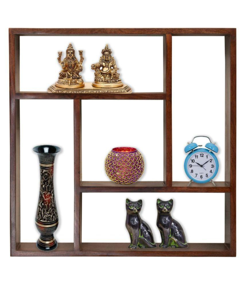 Angel Solid Sheesham Wood Wall Hanging Storage Shelf Squareshowcase