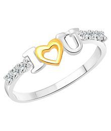 Vighnaharta I Love U Emotion CZ Rhodium Plated Alloy Ring for Women and Girls - [VFJ1197FRR14]