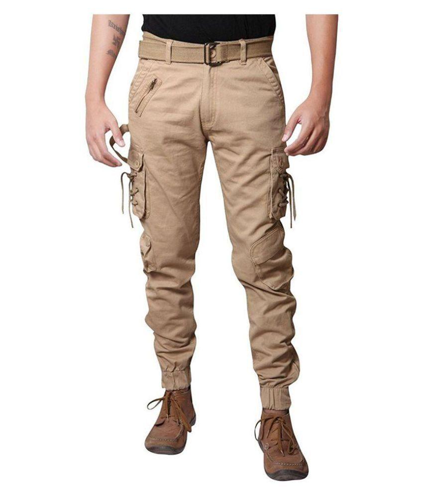 Verticals Coffee Regular -Fit Flat Trousers