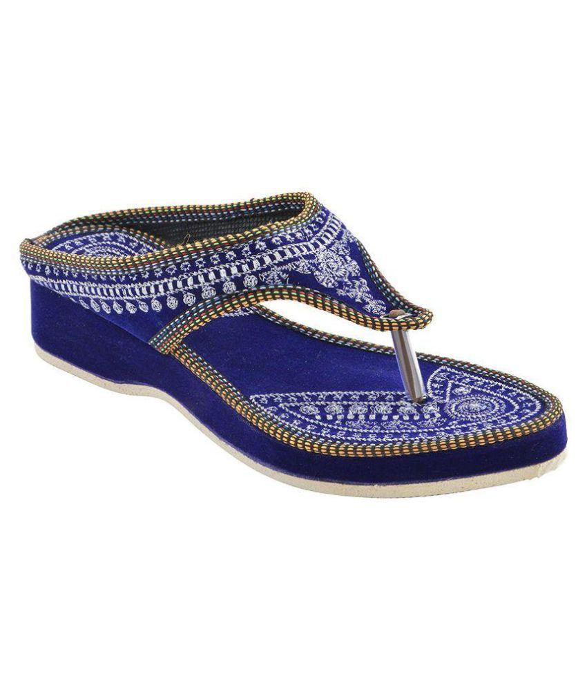 fashion javed Blue Platforms Ethnic Footwear
