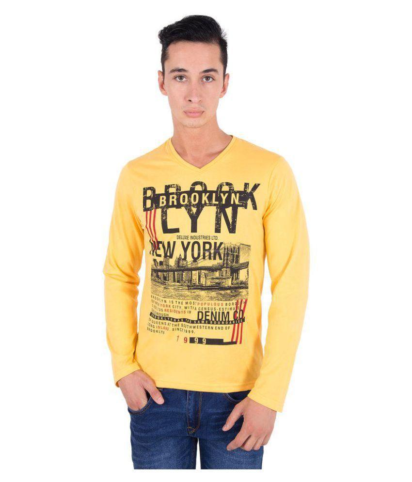Zoravie Yellow V-Neck T-Shirt