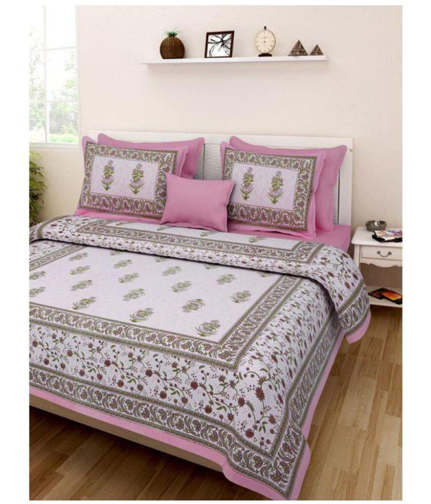 PRINCE CREATION Cotton Double Bedsheet with 2 Pillow Covers