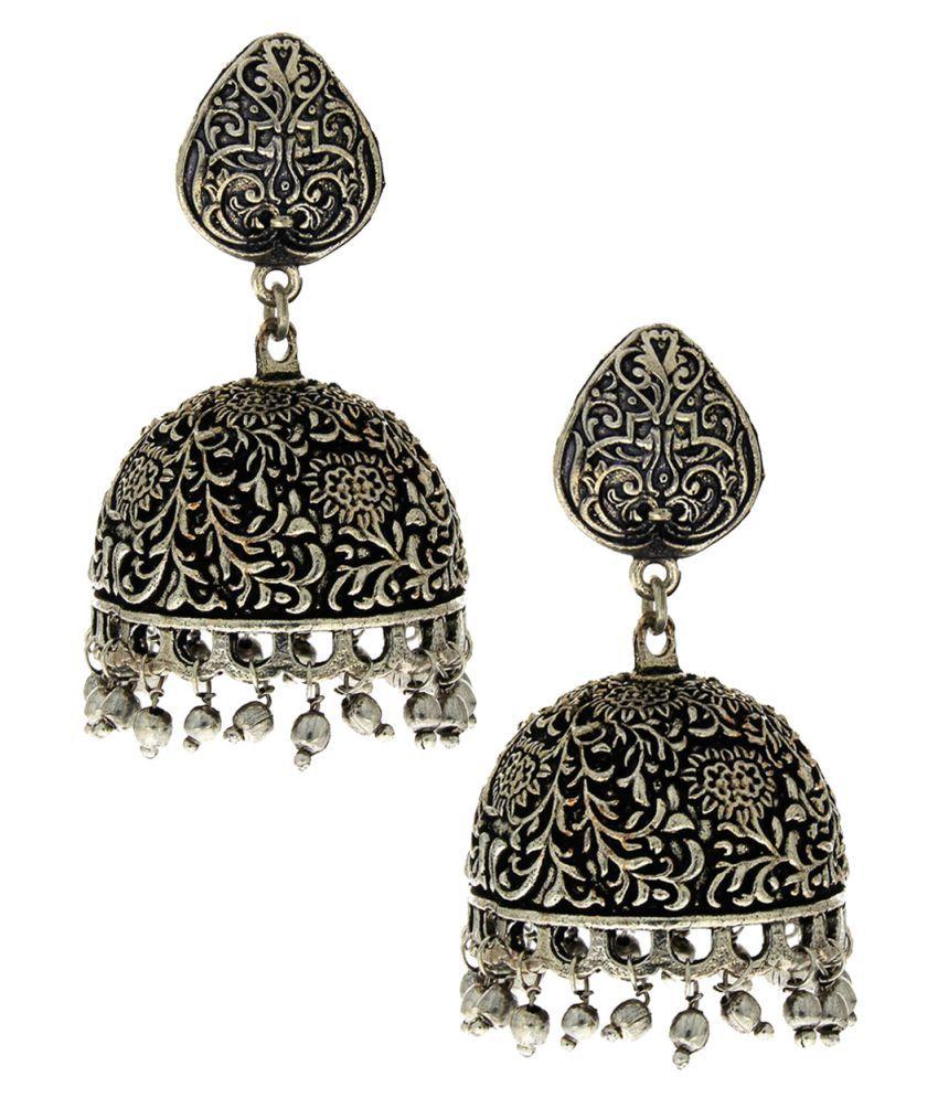 Anuradha Art Silver Colour Wonderful Classy Trendy Oxidised Jhumki/Jhumkas Earrings For Women/Girls