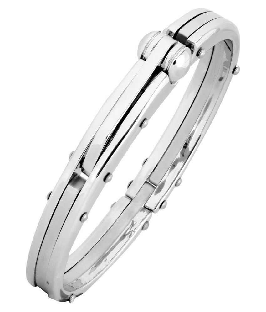 Chandrika Pearls Gems & Jewellers Openable Free Size Matte Glossy Surgical Stainless Steel Kada Bracelet for Men & Boys