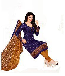 DRAPES Purple Cotton Dress Material