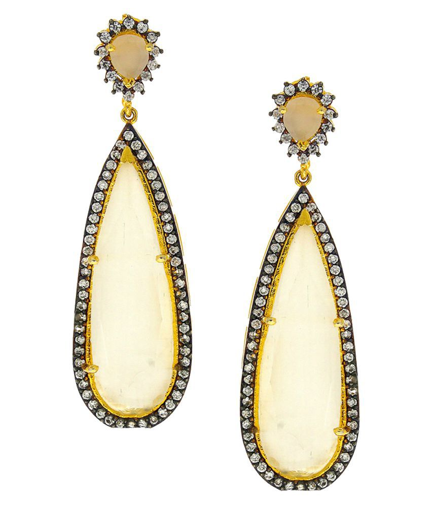 Anuradha Art Off-White Colour Adorable Studded Shimmering Stone Party Wear Fancy Long Earrings For Women/Girls