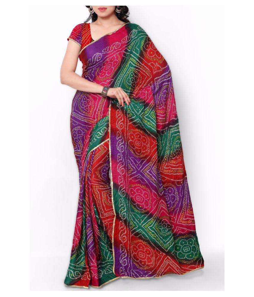 IndoPrimo Multicoloured Crepe Saree