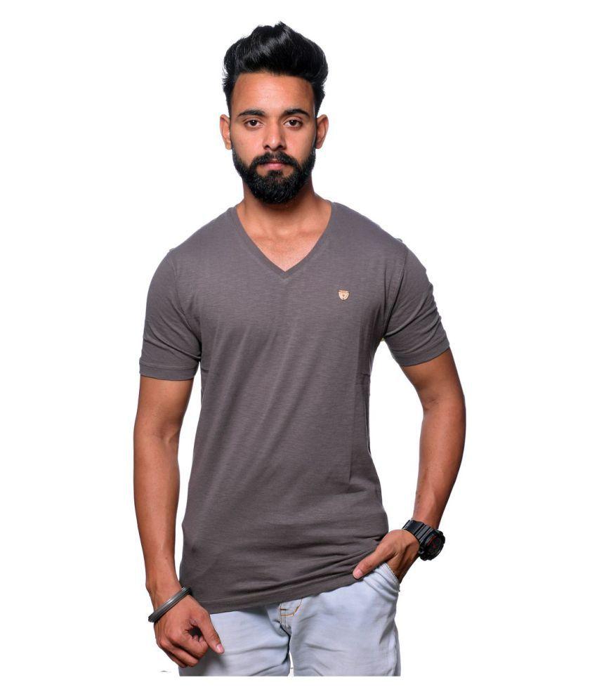 Hunkmart Grey V-neck T-Shirt