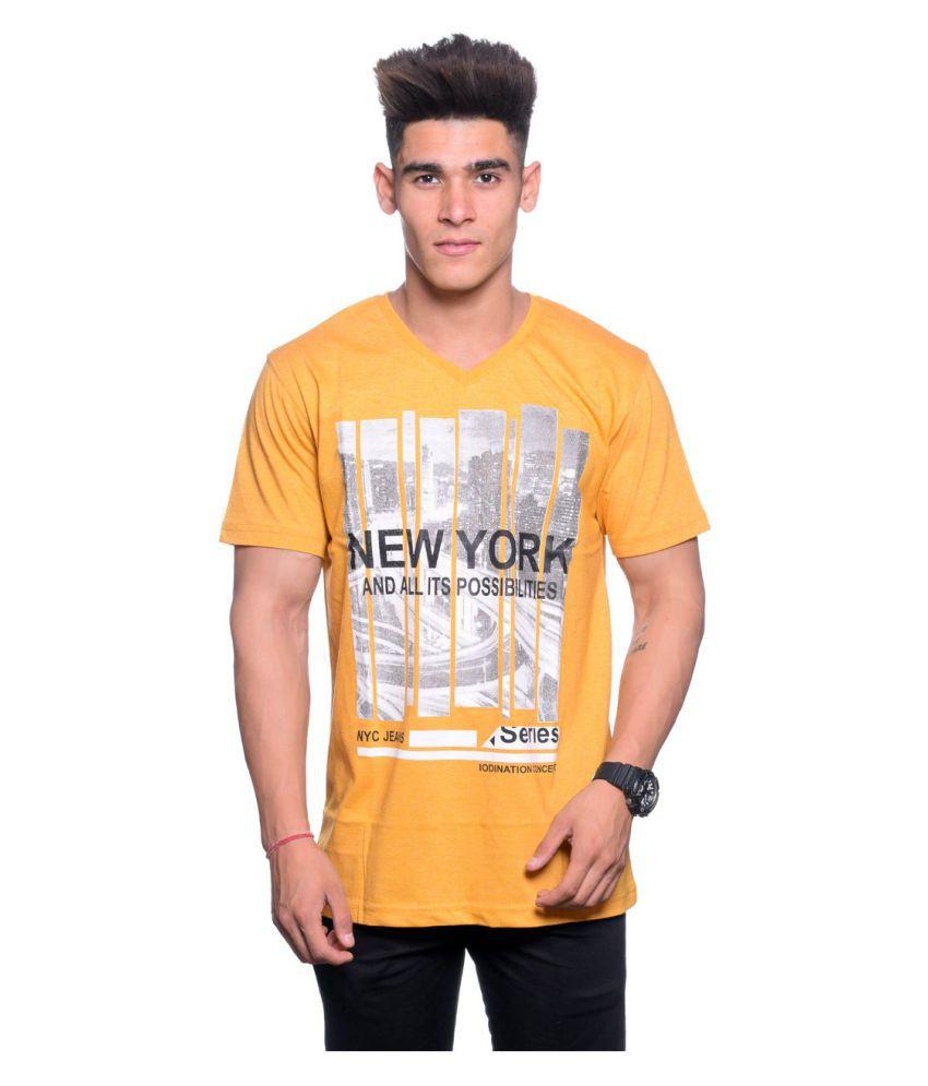 Hunkmart Yellow V-neck T-Shirt