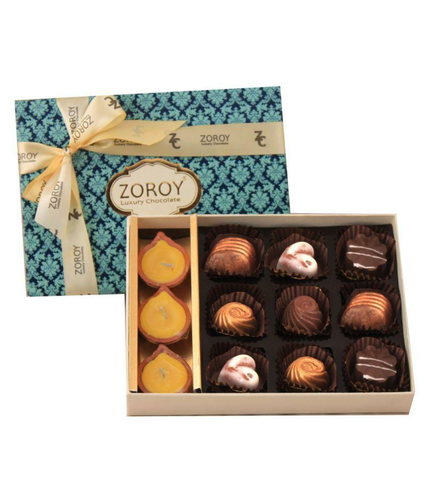 Zoroy Luxury Chocolate Assorted Box Diwali 9 Chocolates and Diyas 127.5 gm