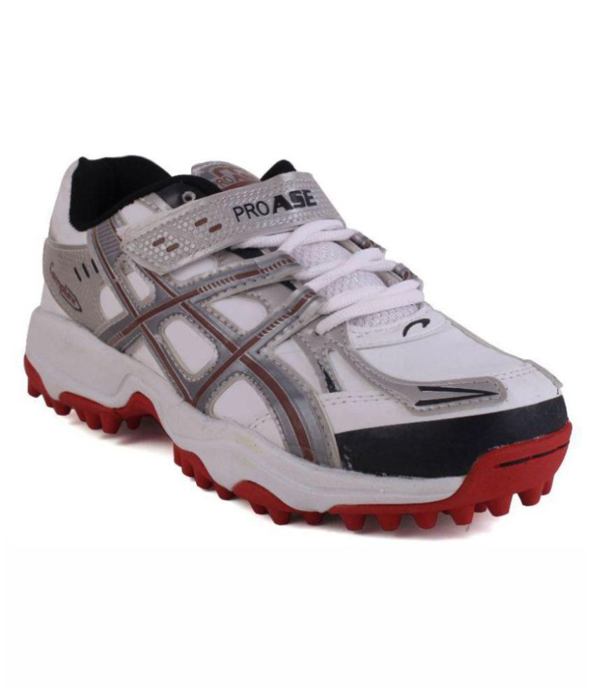 fedde8b442f3 ProASE White Red Stud White Cricket Shoes  Buy Online at Best Price on  Snapdeal
